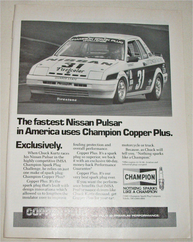 1985 Champion Copper Plus Spark Plugs Nisson Pulsar ad