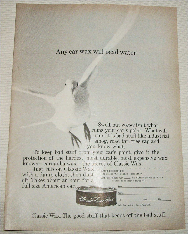 1970 Classic Car Wax ad