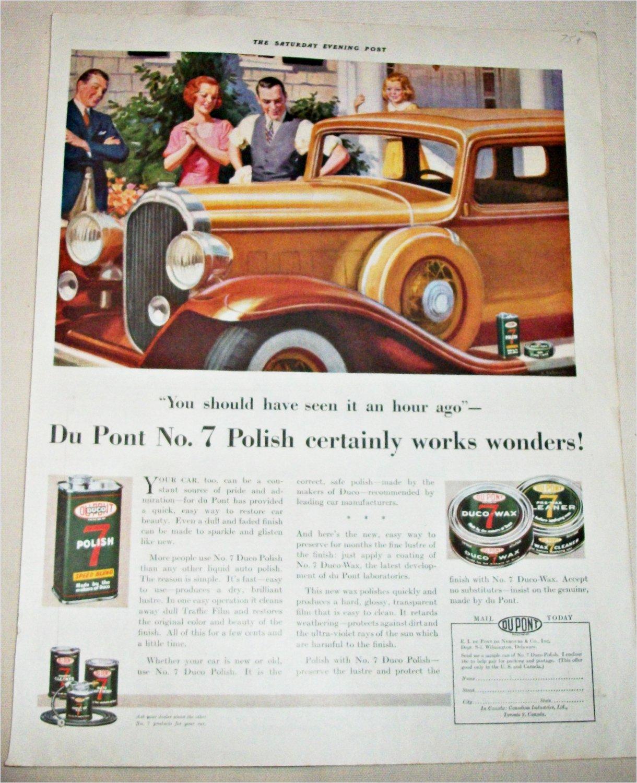 1923 Dupont No 7 Auto Polish ad