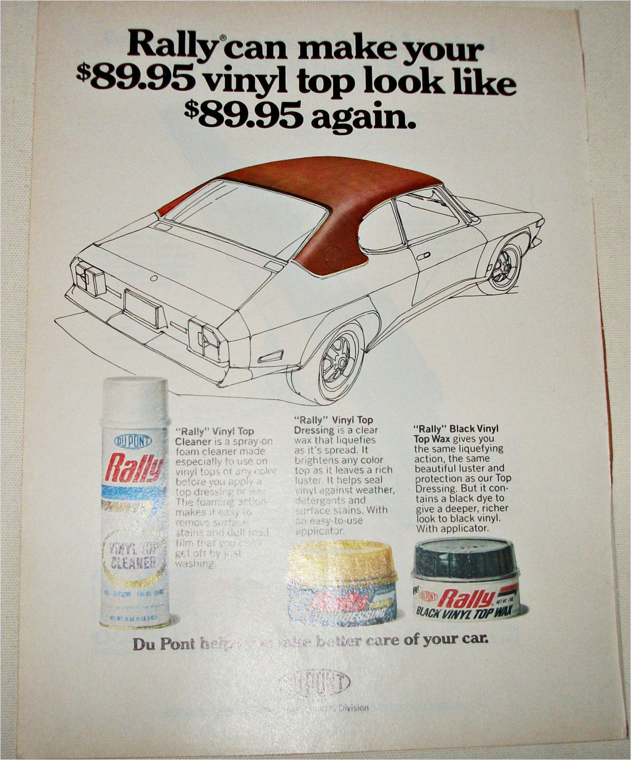 Dupont Rally Vinyl Top Cleaner ad