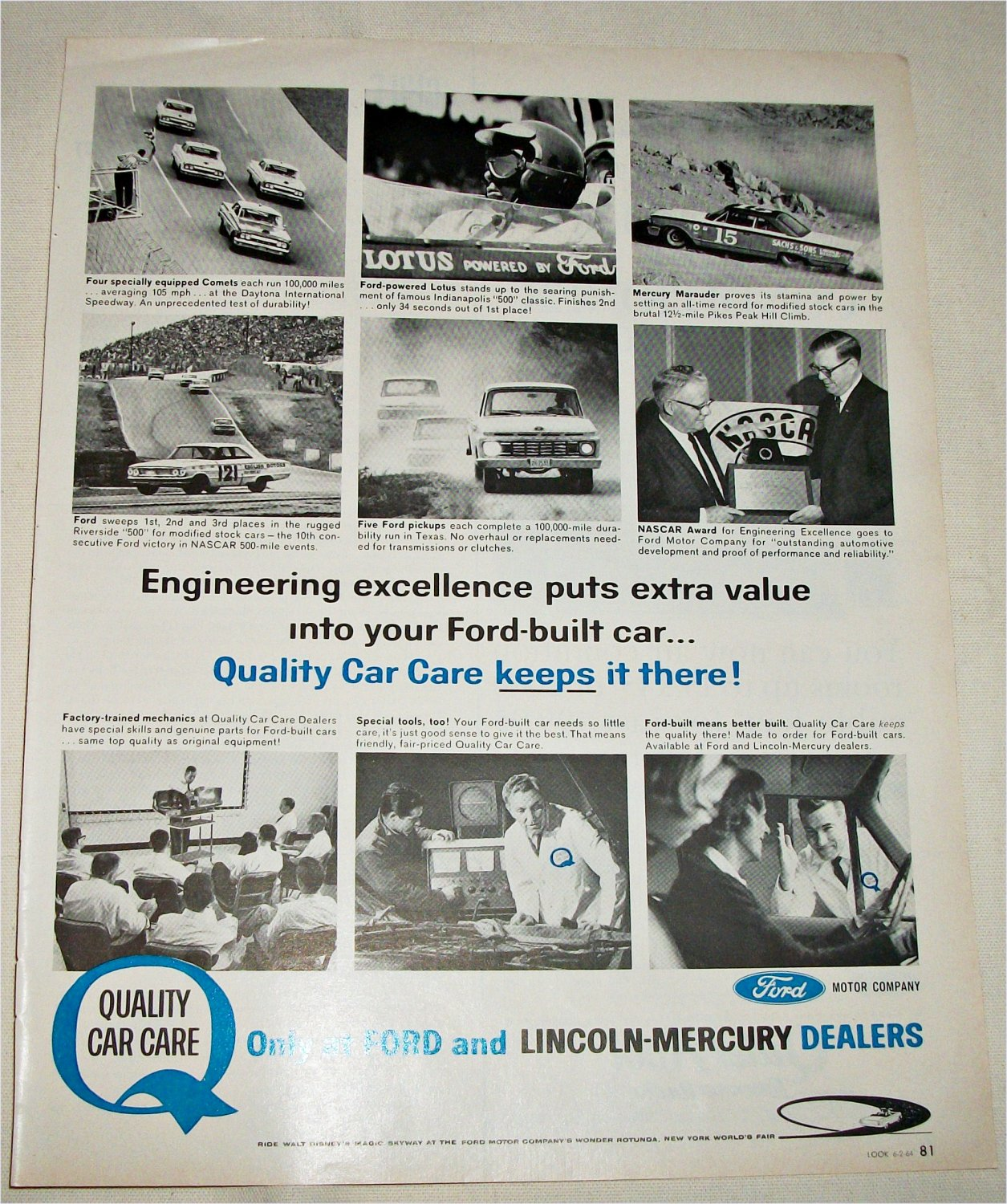 1964 Ford Quality Car Care ad
