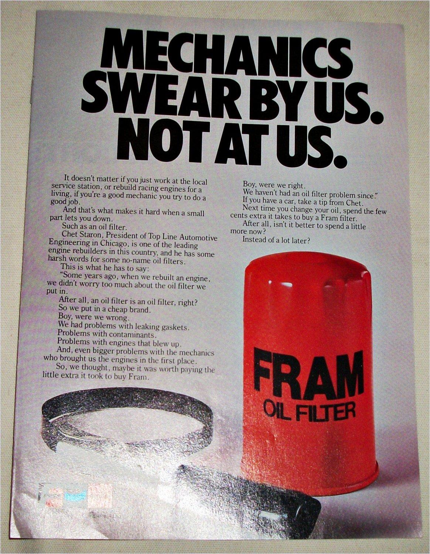 1983 Fram Oil Filter ad