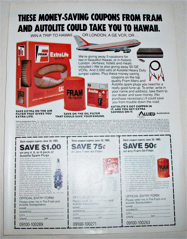 1985 Fram Auto Parts Contest ad