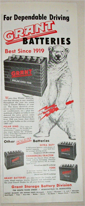 1960 Grant Batteries ad