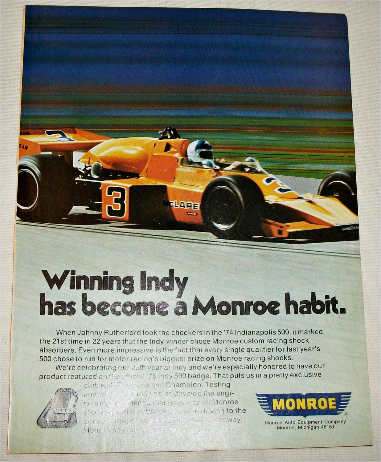 1975 Monroe Shock Absorbers ad featuring Johnny Rutherford