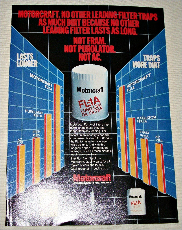 1982 Motorcraft FL1A Oil Filter ad