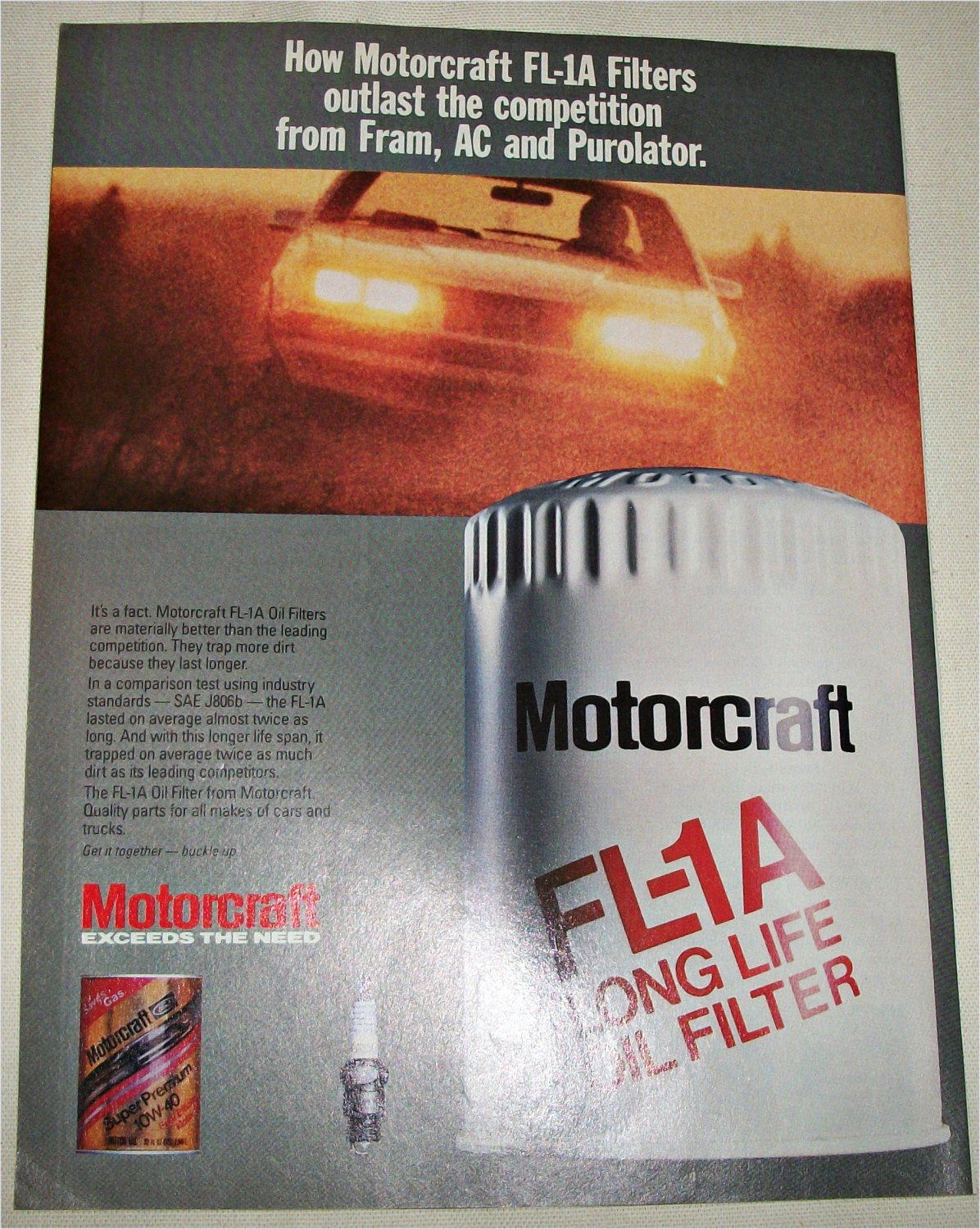 1985 Motorcraft FL1A Oil Filter ad