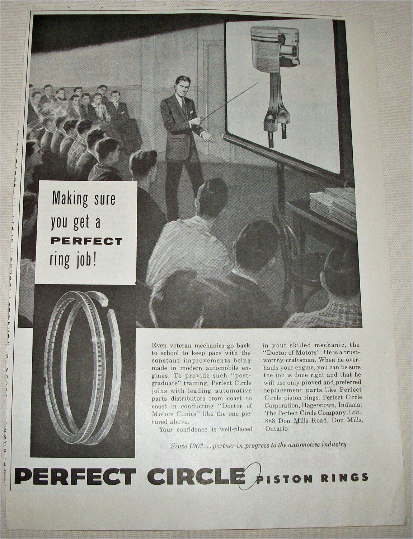 1958 Perfect Circle Piston Rings ad