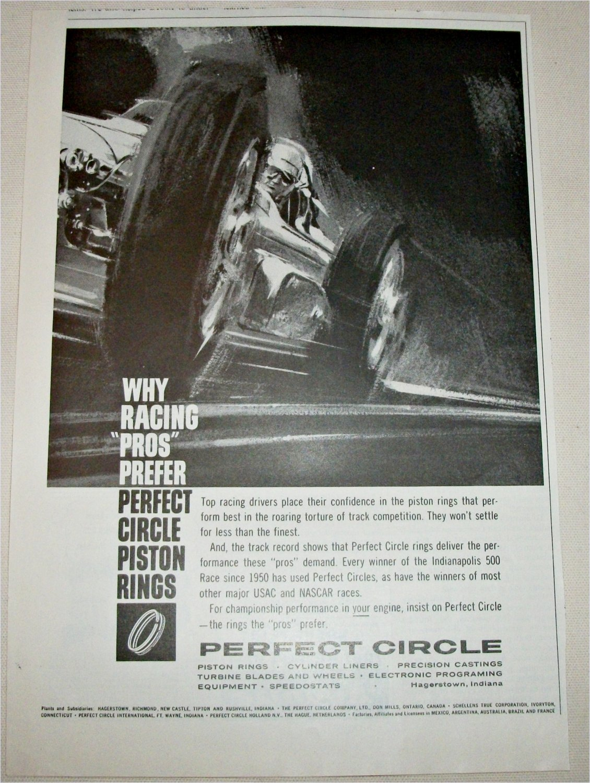 1962 Perfect Circle Piston Rings ad