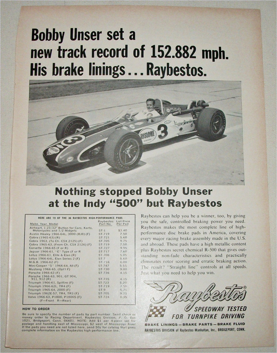 1968 Raybestos Brakes ad featuring Bobby Unser
