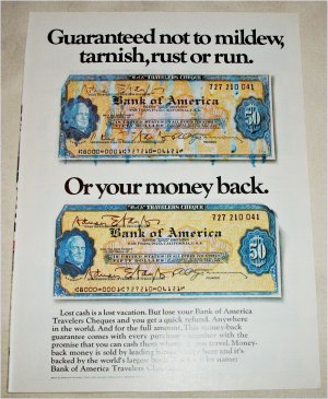 1970 Bank of America Tavelers Cheques Mildew ad