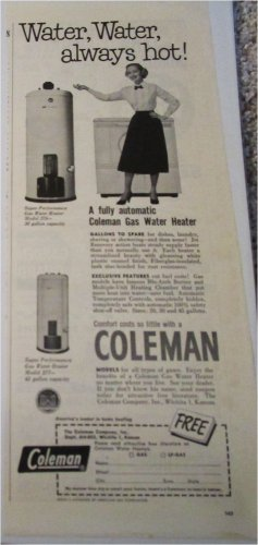 1952 Coleman Gas Water Heater ad
