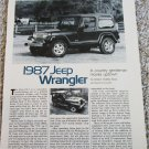 1987 American Motors Jeep Wrangler article