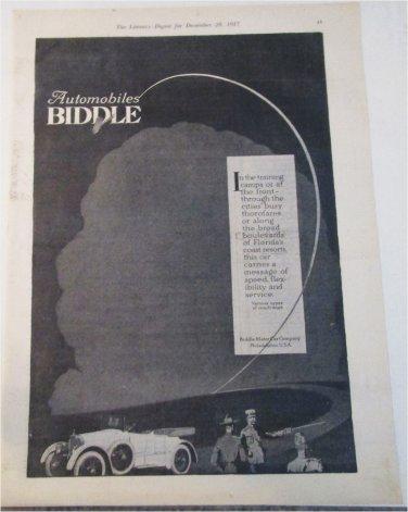 1917 Biddle Touring car ad