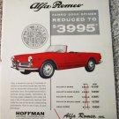 1962 Alfa Romeo 2000 Spider car ad