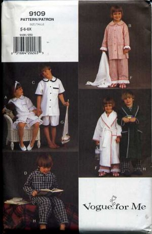 Vogue Pattern 9109 - Child's Pajama Top, Shorts, Pants, Robe