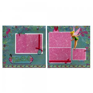 Two Coordinating Premade Scrapbook  Pages - TinkerBell