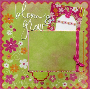 Premade Scrapbook Page - Bloom & Grow