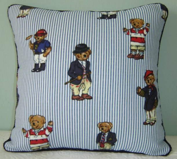 "RALPH LAUREN 14""X14"" TEDDY BEAR STRIPE ACCENT PILLOW WITH DECORATIVE CORDING"