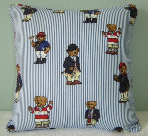 "RALPH LAUREN 16""X16"" TEDDY BEAR STRIPE PILLOW WITH SELF COVERED PIPING"