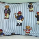RALPH LAUREN 12X16 TEDDY BEAR STRIPE PILLOW WITH DECORATIVE CORDING