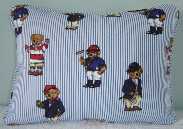 "RALPH LAUREN 12""X16"" TEDDY BEAR STRIPE PILLOW WITH SELF COVERED PIPING"