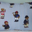 """RALPH LAUREN 12""""X16"""" TEDDY BEAR STRIPE PILLOW WITH SELF COVERED PIPING"""