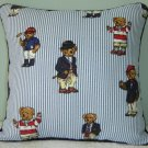 "RALPH LAUREN 16""X16"" TEDDY BEAR STRIPE ACCENT PILLOW WITH DECORATIVE CORDING"