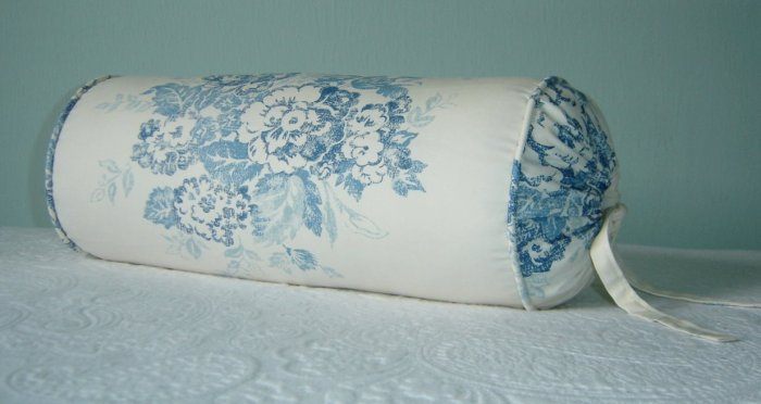 "RALPH LAUREN CUSTOM 14""X6"" CATALINA ISLAND FLORAL  BOLSTER PILLOW"