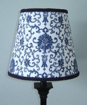 LAUREN CUSTOM BLUE PORCELAIN TOILE LAMPSHADE