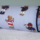 RALPH LAUREN 14X6 TEDDY BEAR STRIPE CUSTOM BOLSTER PILLOW WITH DECORATIVE CORDING