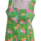 Vintage Hawaiian Dress The Ritz Womens M Pinafore Style High Waist Green Hot Pink Fuschia