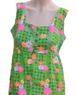 Vintage Hawaiian Dress The Ritz Womens M Pinafore Style High Waist Green Hot Pink Fuschia