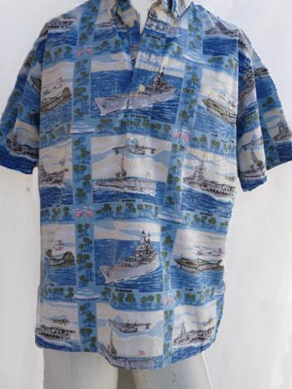 Aloha Shirt Battleships Airplanes Warhawk Hornet M Reyn Spooner VTG