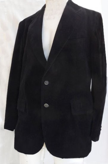 Mens Vintage Blazer Cotton Velvet Whim Black 44 Long Single breasted Japan