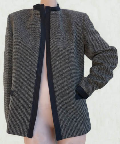 Max Mara suit SZ 8 10 Womens Black gray Open Jacket Wool Silk Italy