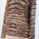 St John Top Marie Gray M Pullover Animal tiger print look Browns Cream Umber Silver gray