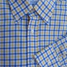 Battistoni Shirt Mens Dress 16.5 Long sleeve Gold White Blue check Cotton Italy