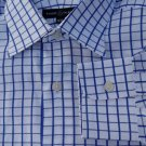 Robert Talbott Dress shirt LS 16/34 White Dark Blue Squares Spread collar  NWOT