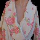 VTG Christian Dior Paris Robe Pink flowers Loungewear White Pink flowers Vintage Belted