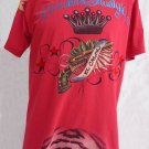 VTG Mens Red Skull T shirt XL Christian Audigier  Red Skull Crown Gun Skull