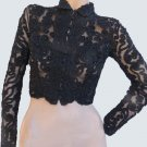 Womens lacey Ruched Black top Blouse Short Jacket Vintage look Small
