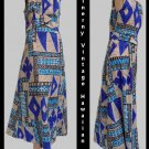 Vtg Womens Hawaiian DressAloha McInerny Sz 14 Geometric Sleeveless MAxi Full length