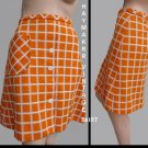 Vintage orange Check skirt HAYMAKER M Mini Made in USA