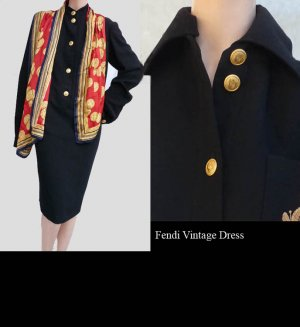 VTG Black Womens Dress Gold buttons Logo Fendi Dress BlackSZ 12 Emblem Collar