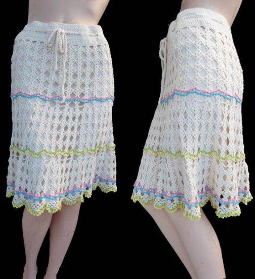Womens crochet skirt cotton SM Nanette Lepore Skirt S Cotton CKnee length Cruise Drawstring waist