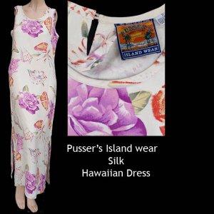 Womens Hawaian Dress Small  Pussers Island Wear Silk Dress Long Floral