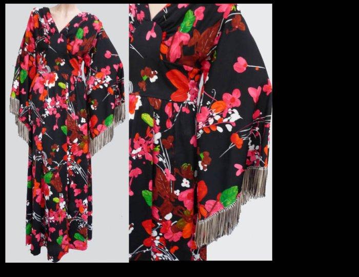 Vtg Mod Boho Maxi dress COCO Hippie Sz 10 Bat Wing