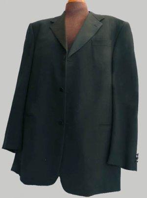 Mens Tux Tuxedo Jacket Donna Karan Formal 46 L Black SBPRom 3 button Wedding
