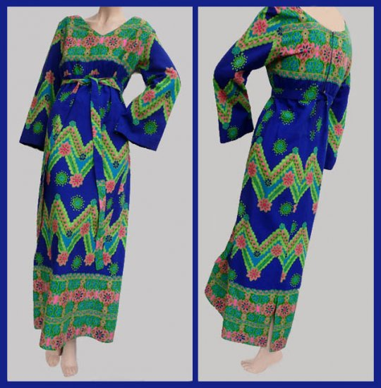 Womens Full length Hawaiian Dress Kamehameha M black Greens bell sleeves